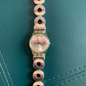 Vintage Swatch Watch Silver Pink and Brown